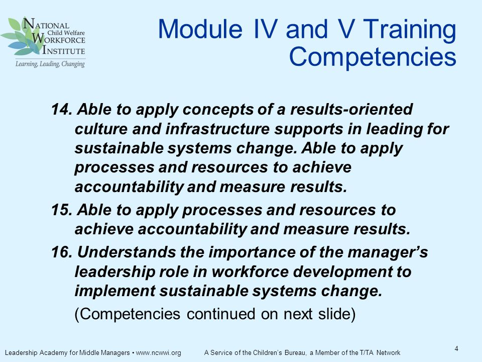 Module IV and V Training Competencies 14.