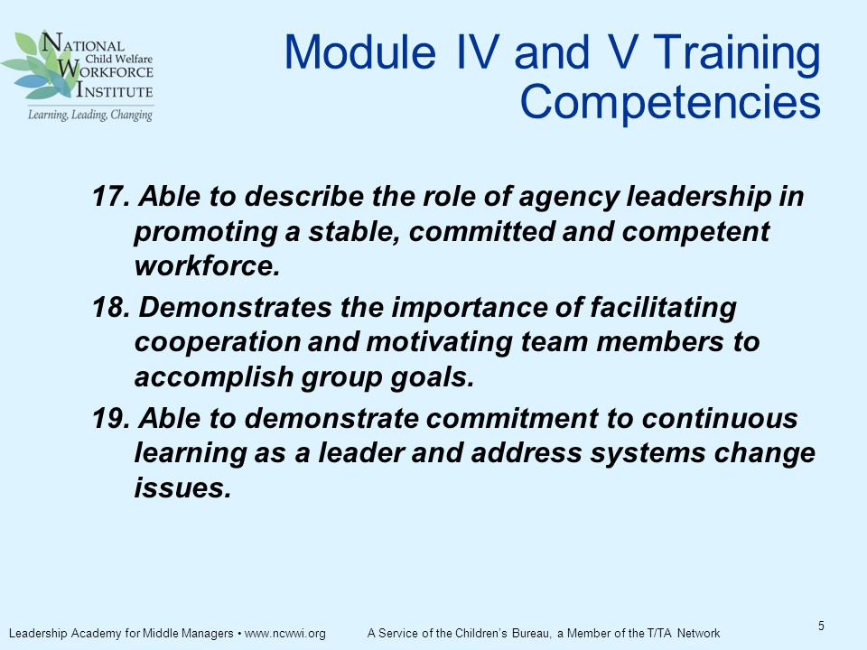 Module IV and V Training Competencies 17.