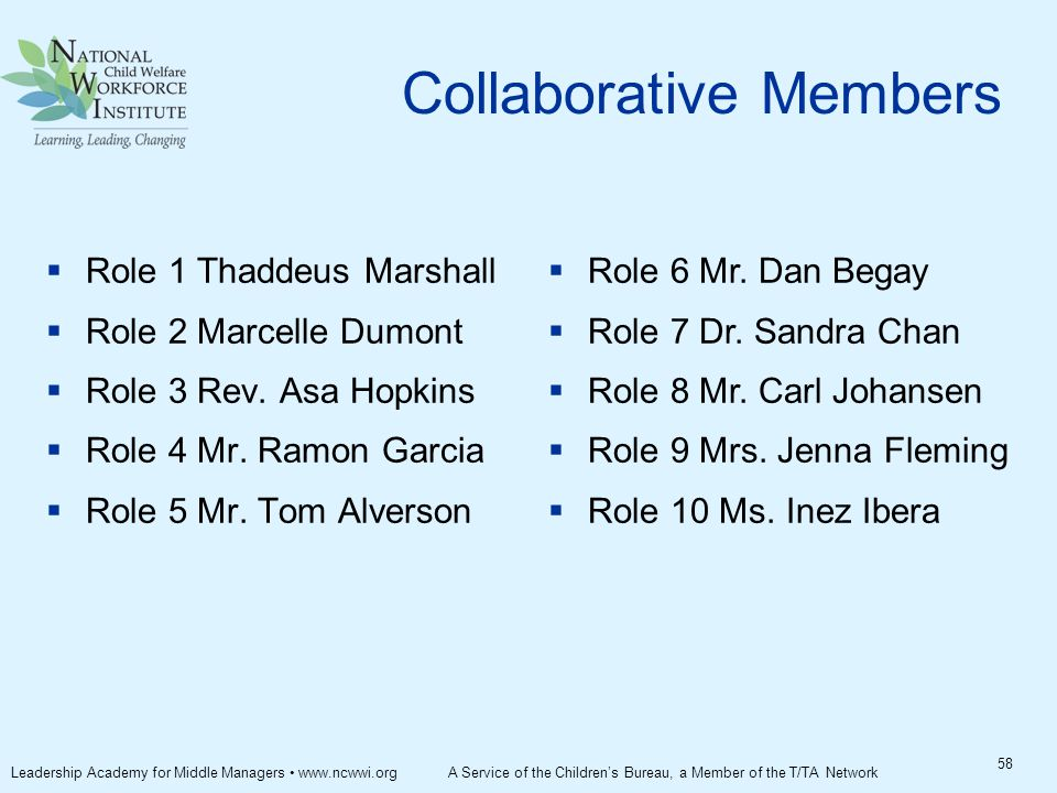 Collaborative Members  Role 1 Thaddeus Marshall  Role 2 Marcelle Dumont  Role 3 Rev.