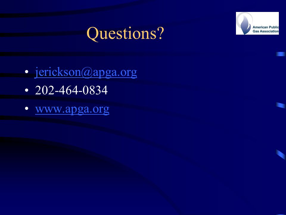 Questions? jerickson@apga.org 202-464-0834 www.apga.org