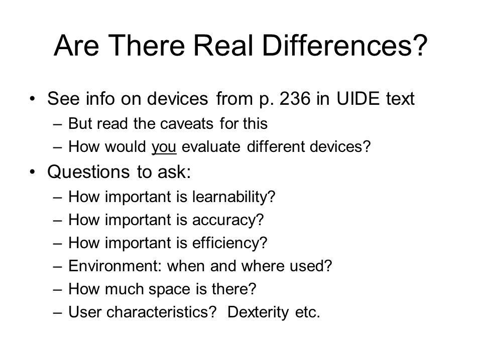 Are There Real Differences. See info on devices from p.