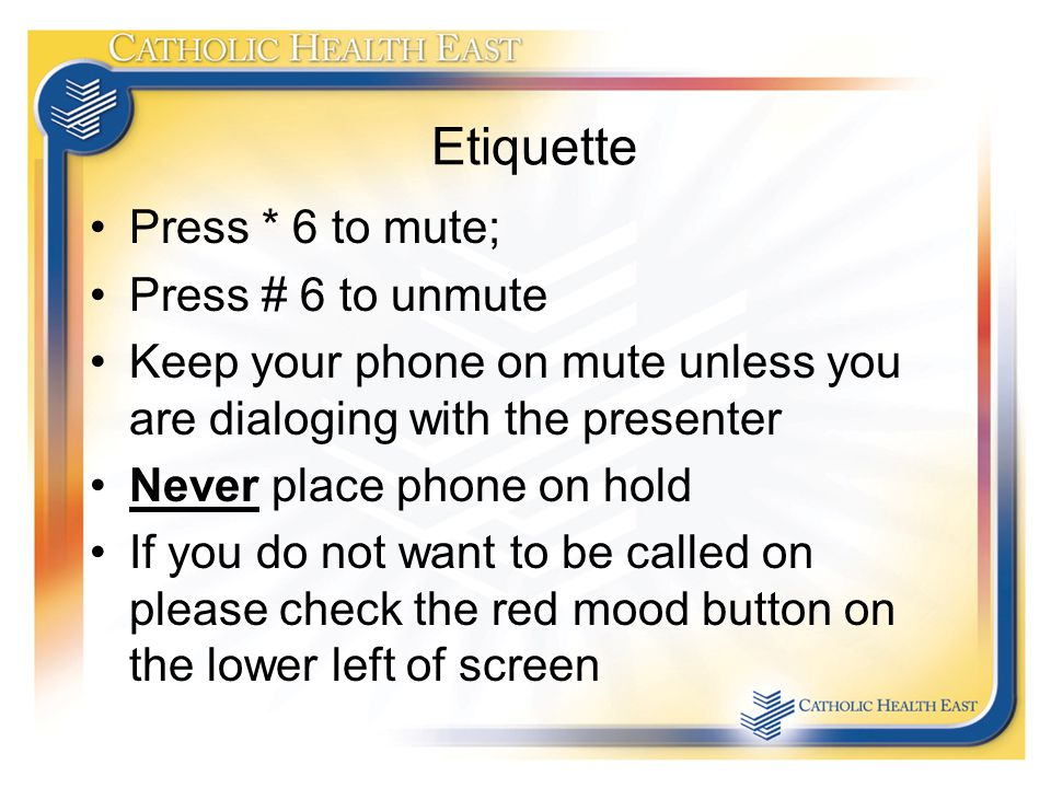 Etiquette Press * 6 to mute; Press # 6 to unmute Keep your phone on mute unless you are dialoging with the presenter Never place phone on hold If you do not want to be called on please check the red mood button on the lower left of screen