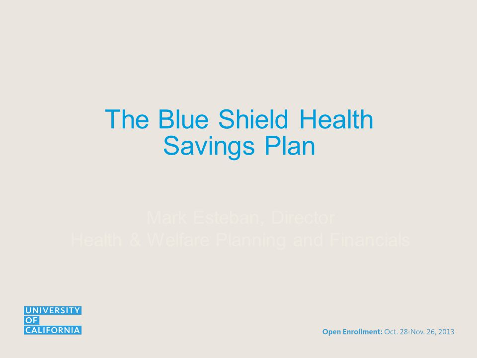 The Blue Shield Health Savings Plan Mark Esteban, Director Health & Welfare Planning and Financials