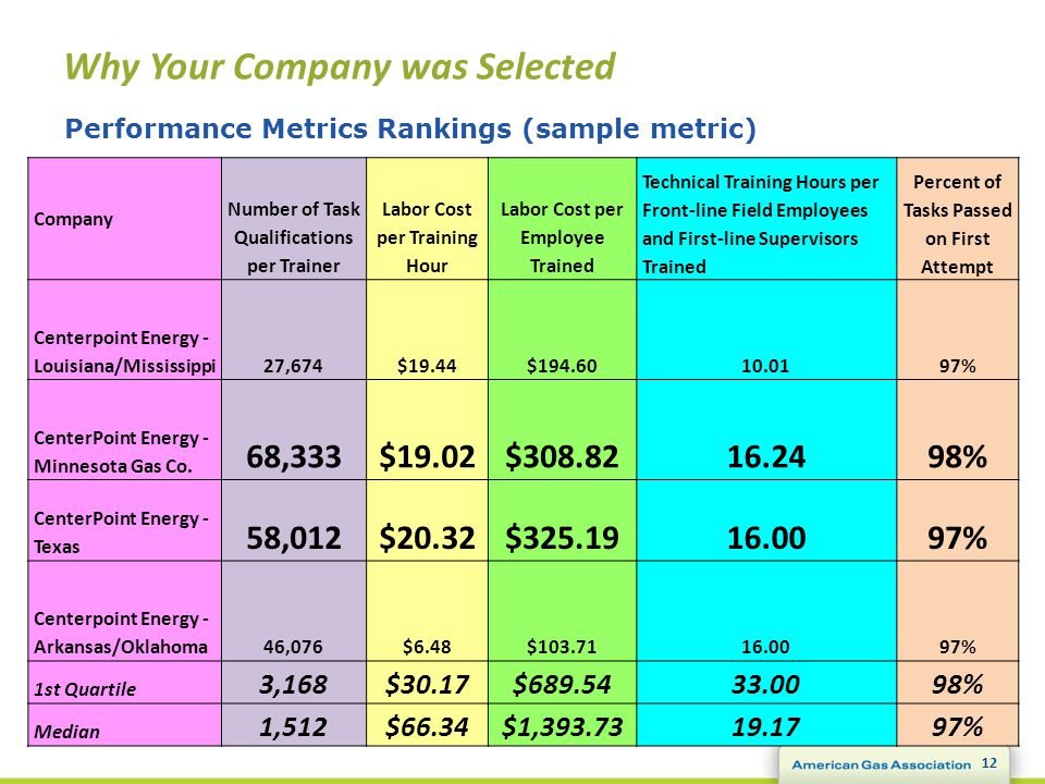 Why Your Company was Selected 12 Performance Metrics Rankings (sample metric) Company Number of Task Qualifications per Trainer Labor Cost per Training Hour Labor Cost per Employee Trained Technical Training Hours per Front-line Field Employees and First-line Supervisors Trained Percent of Tasks Passed on First Attempt Centerpoint Energy - Louisiana/Mississippi27,674$19.44$194.6010.0197% CenterPoint Energy - Minnesota Gas Co.