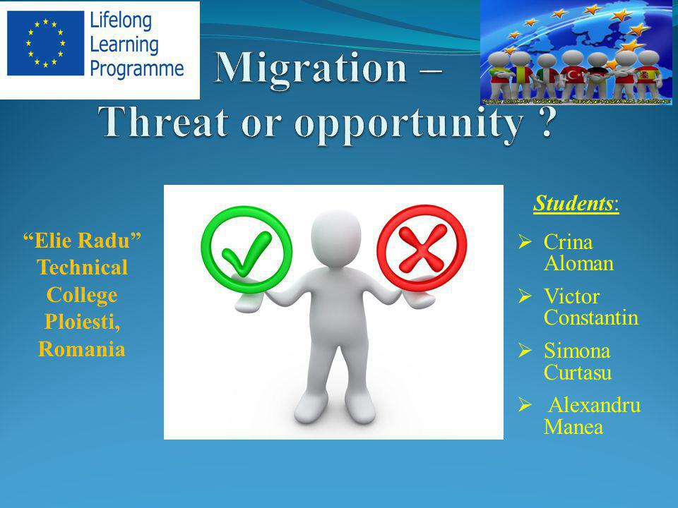 human migration - a movement of humans from one place to another, with the intention of settling in the new location.