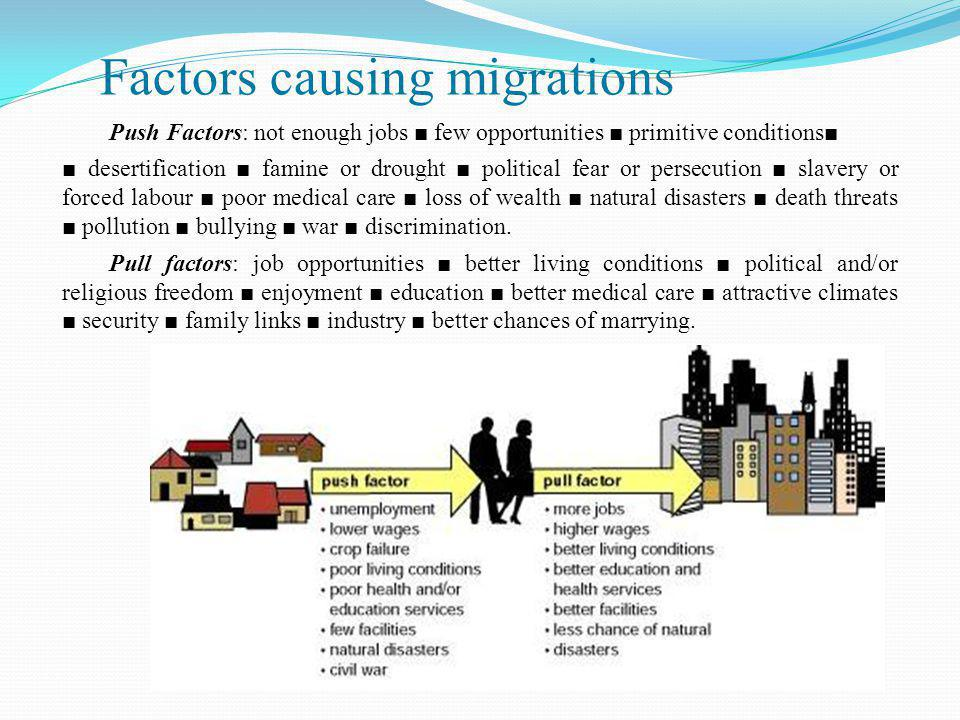 Impacts of migration  human migration affects:  population patterns and characteristics,  social and cultural patterns,  processes, economies, and physical environments;  as people move, their cultural traits and ideas diffuse along with them, creating and modifying cultural landscapes;  there are many arguments about the advantages and disadvantages of migration and how it has affected us locally.