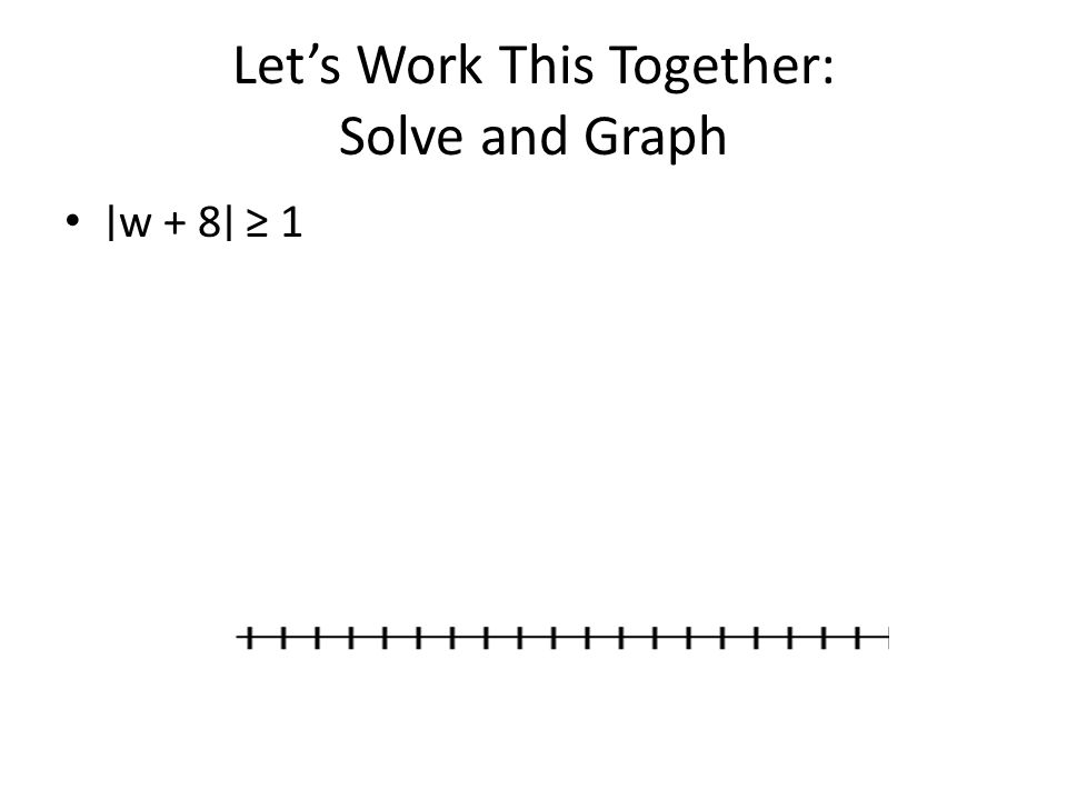 Let's Work This Together: Solve and Graph ∣ w + 8 ∣ ≥ 1