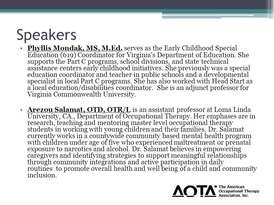 Speakers Phyllis Mondak, MS, M.Ed.