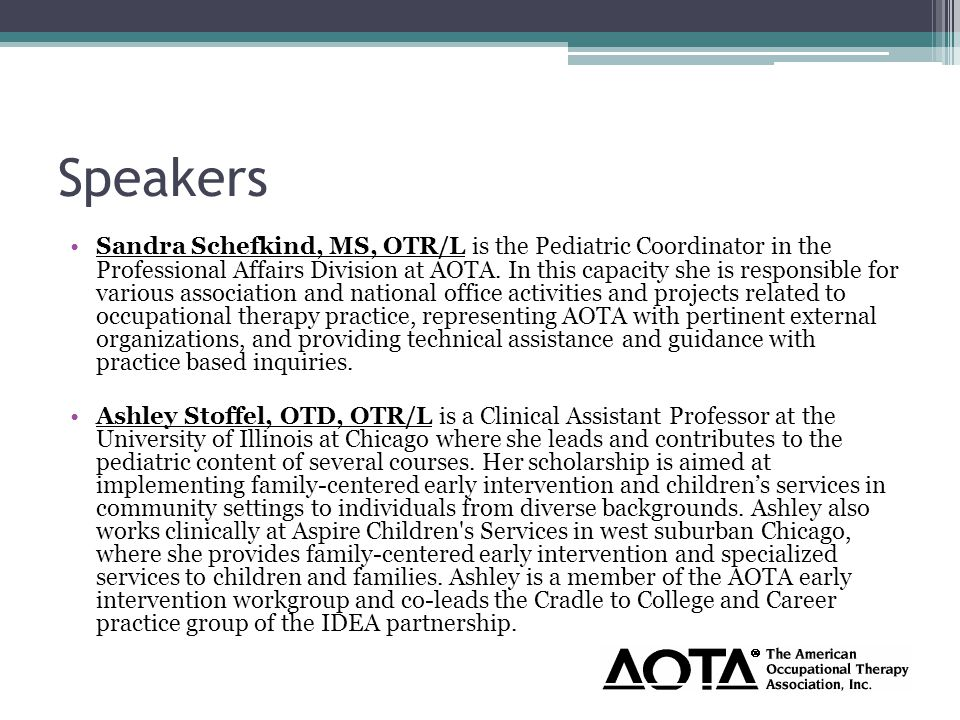What is the role of OT in early childhood transitions.