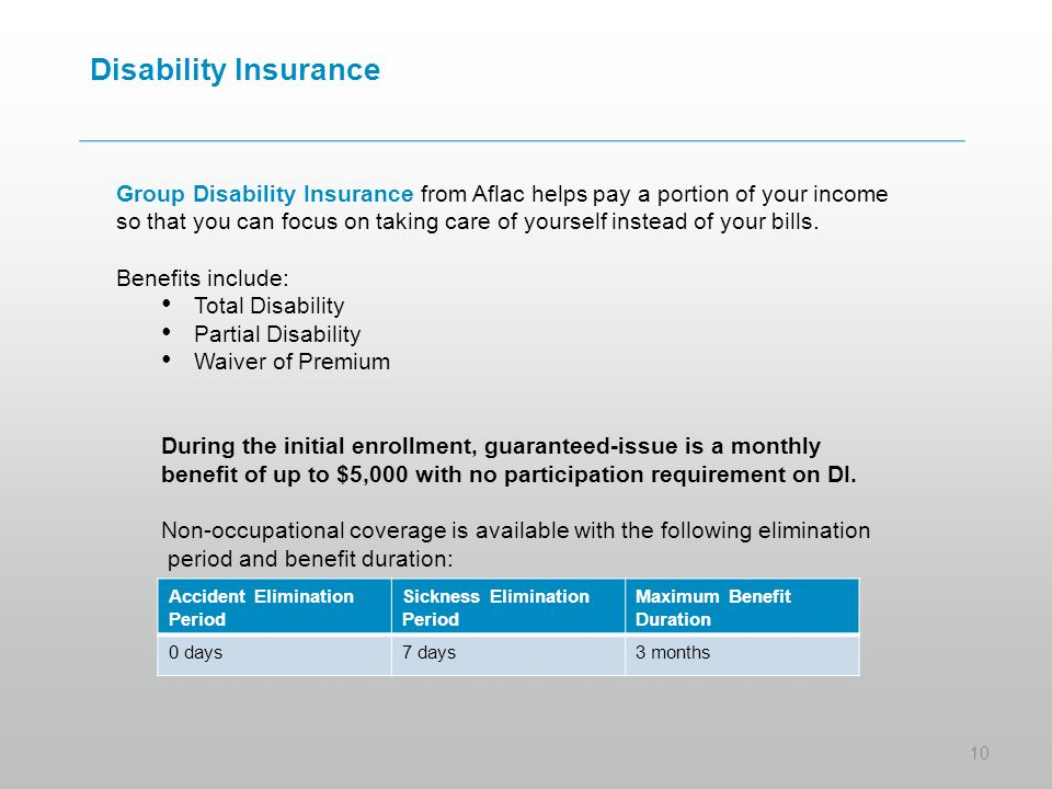Disability Insurance Group Disability Insurance from Aflac helps pay a portion of your income so that you can focus on taking care of yourself instead of your bills.