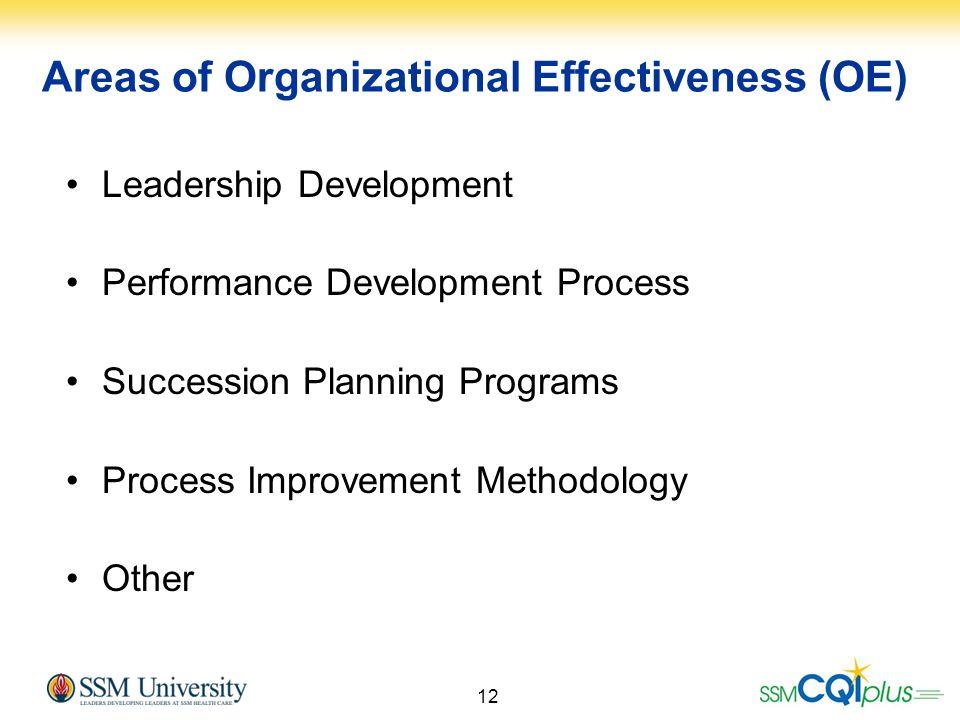 12 Leadership Development Performance Development Process Succession Planning Programs Process Improvement Methodology Other Areas of Organizational E