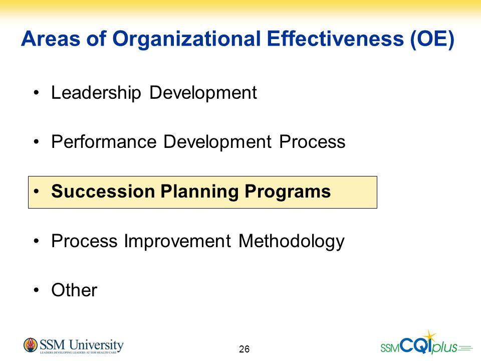 26 Areas of Organizational Effectiveness (OE) Leadership Development Performance Development Process Succession Planning Programs Process Improvement