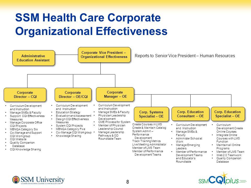 8 SSM Health Care Corporate Organizational Effectiveness Corporate Vice President – Organizational Effectiveness Corporate Vice President – Organizati