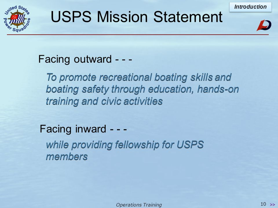 Operations Training Lesson 1 - Agenda Module I  Introduction to USPS, it's Educational Courses & Seminars  Squadrons of USPS  Districts of USPS  USPS National Organization Lesson 1 9 >> Introduction