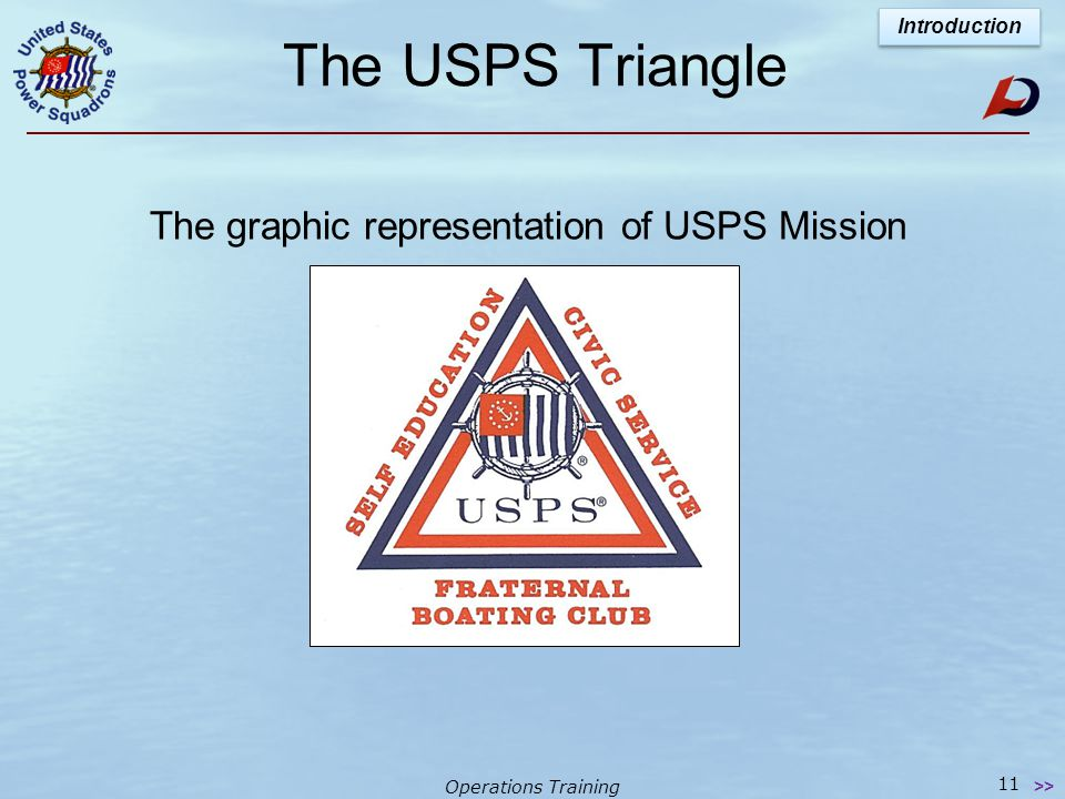 Operations Training USPS Mission Statement Facing outward - - - while providing fellowship for USPS members Facing inward - - - To promote recreationa