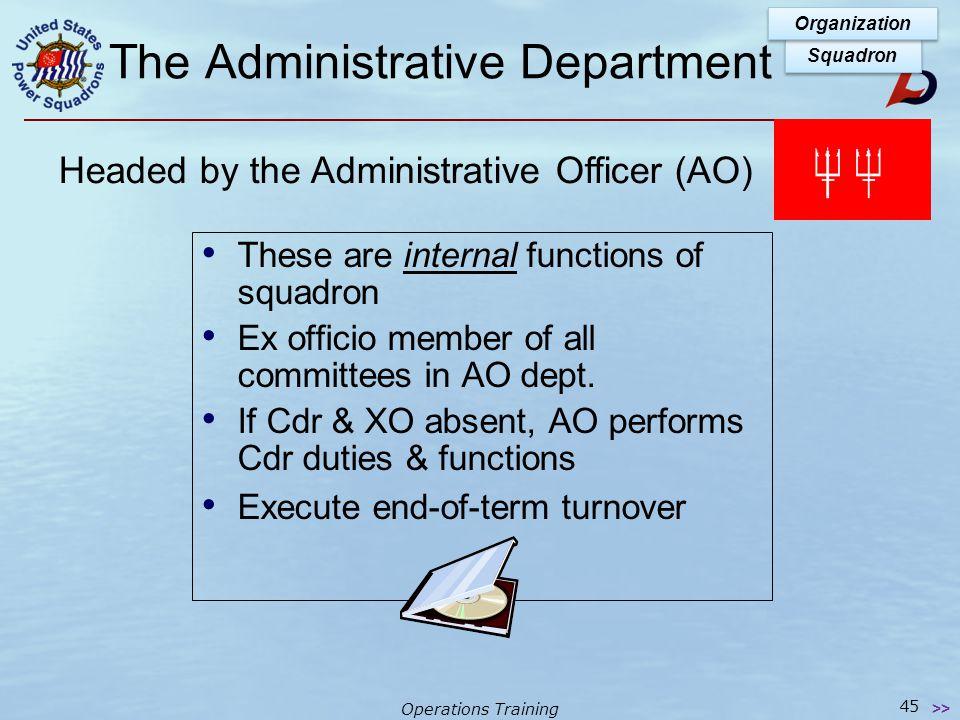 Operations Training The Administrative Department Committees  Boating Activities (Cruise & Rendezvous)  Meetings  Membership  Membership Involveme