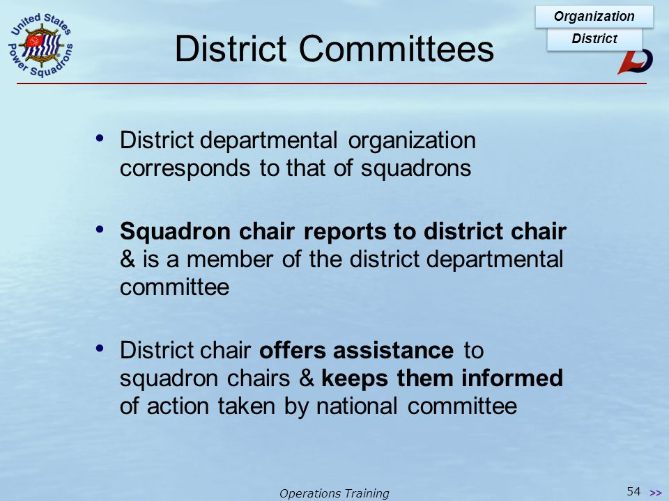 Operations Training District Chart District Organization 53 >> See page 1-3-2 of OTP Manual for District organization chart Past District Commander Pl