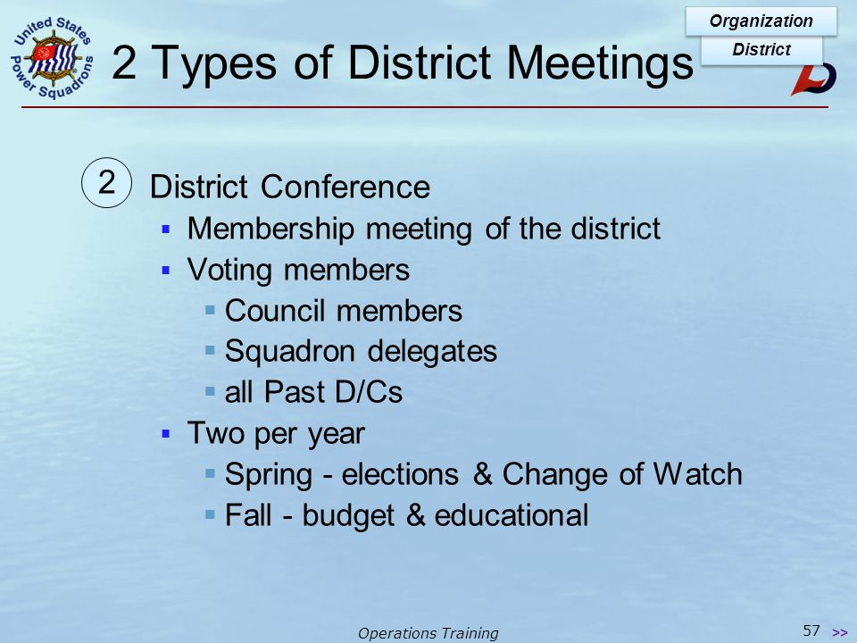 Operations Training 2 Types of District Meetings Council Meetings  Board of directors  relates to Squadron ExCom  Conducts business between Conferences District Organization 56 >> 1