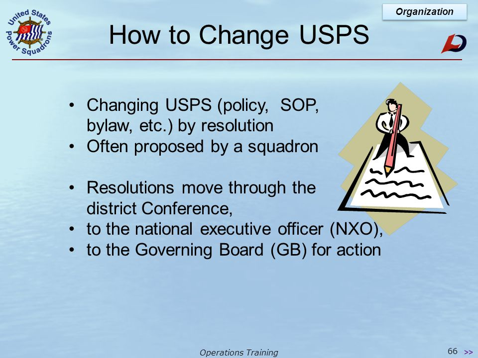 Operations Training Governing Board  Membership meeting of the USPS  Two per year  'Annual' is elections & Change of Watch Held early in year (Jan - Feb)  'Regular' is held midway between 'Annuals' National Organization 65 >> 2 Types of National Meetings 2