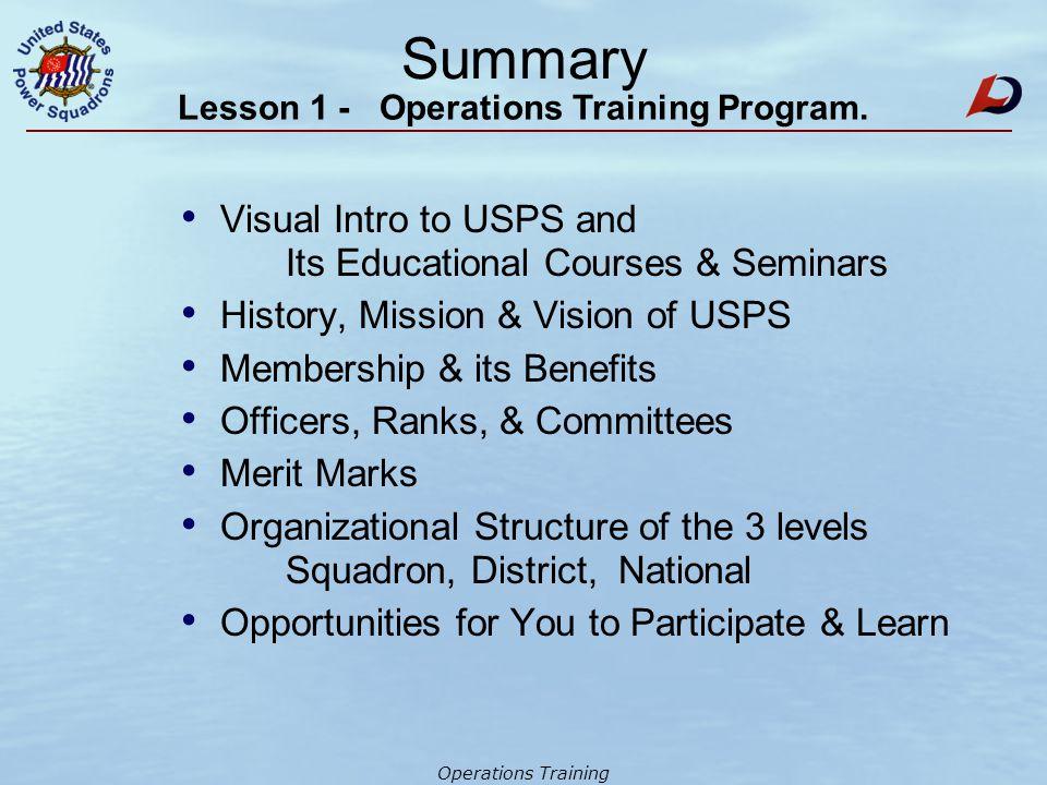 Operations Training HANDOUT # 5 ED Courses, Seminars & Guides.