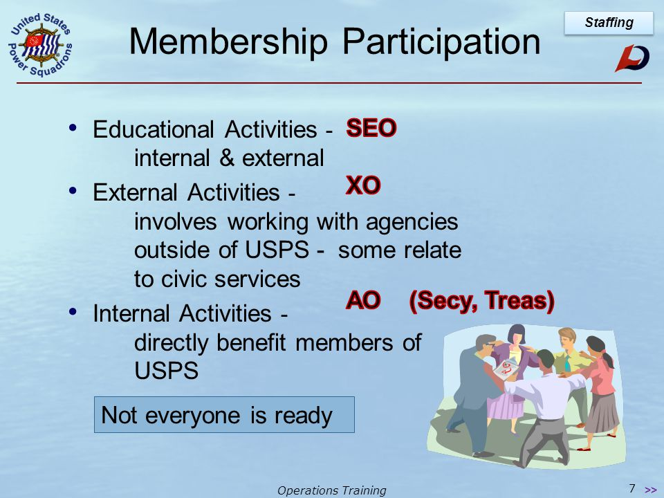 Operations Training 7 Membership Participation Educational Activities - internal & external External Activities - involves working with agencies outside of USPS - some relate to civic services Internal Activities - directly benefit members of USPS Staffing >> Not everyone is ready
