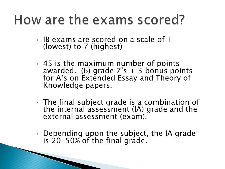 IB exams are scored on a scale of 1 (lowest) to 7 (highest) 45 is the maximum number of points awarded.