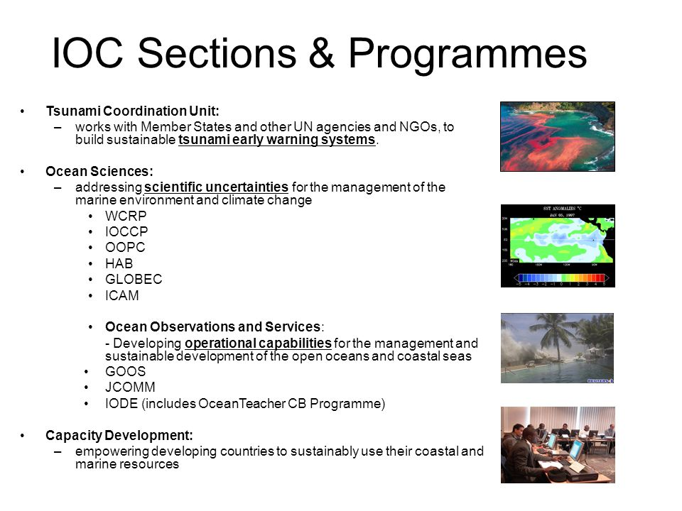 IOC Sections & Programmes Tsunami Coordination Unit: –works with Member States and other UN agencies and NGOs, to build sustainable tsunami early warning systems.