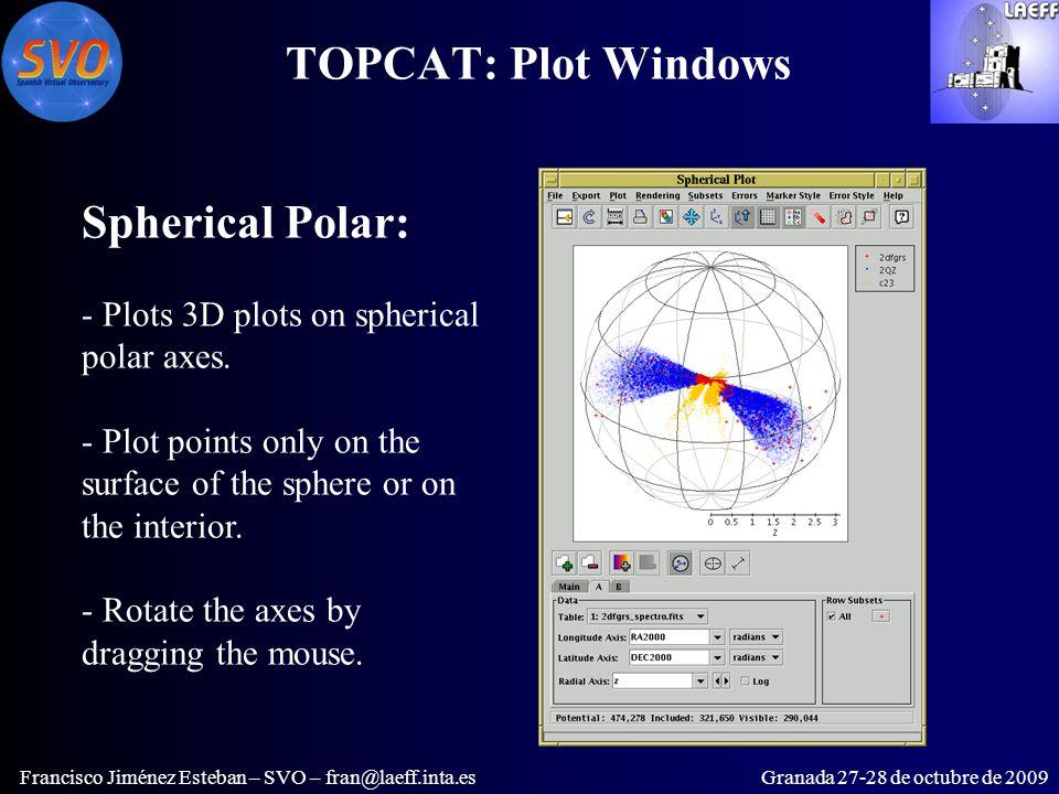 TOPCAT: Plot Windows Francisco Jiménez Esteban – SVO – fran@laeff.inta.esGranada 27-28 de octubre de 2009 Spherical Polar: - Plots 3D plots on spherical polar axes.