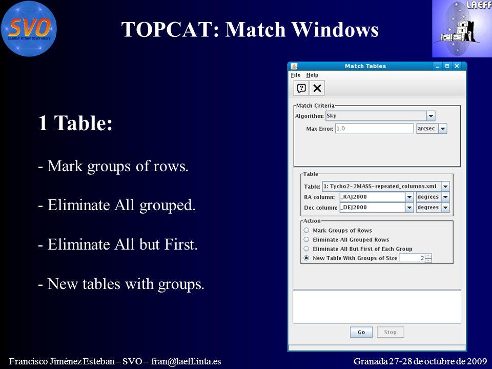 TOPCAT: Match Windows Francisco Jiménez Esteban – SVO – fran@laeff.inta.esGranada 27-28 de octubre de 2009 1 Table: - Mark groups of rows.