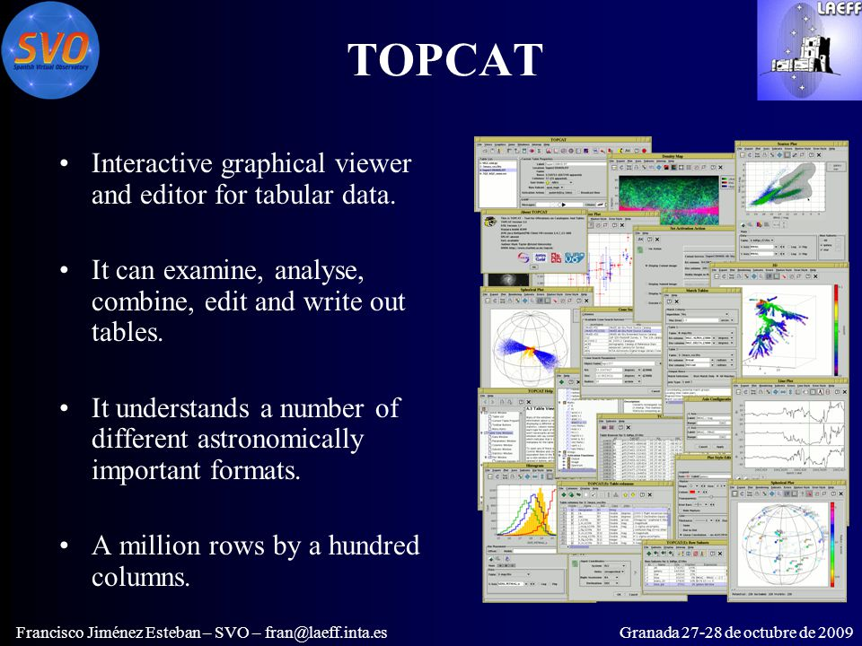 TOPCAT Interactive graphical viewer and editor for tabular data.