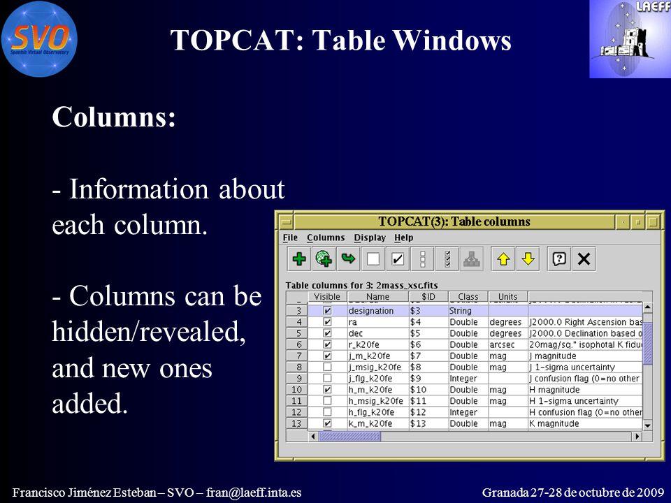 TOPCAT: Table Windows Francisco Jiménez Esteban – SVO – fran@laeff.inta.esGranada 27-28 de octubre de 2009 Columns: - Information about each column.
