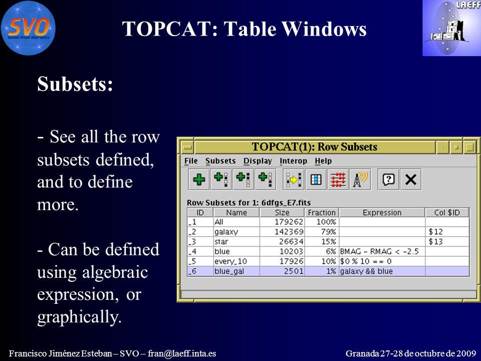 TOPCAT: Table Windows Francisco Jiménez Esteban – SVO – fran@laeff.inta.esGranada 27-28 de octubre de 2009 Subsets: - See all the row subsets defined, and to define more.