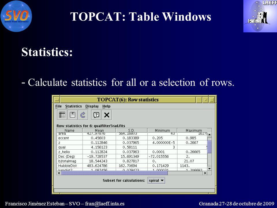 TOPCAT: Table Windows Francisco Jiménez Esteban – SVO – fran@laeff.inta.esGranada 27-28 de octubre de 2009 Statistics: - Calculate statistics for all or a selection of rows.