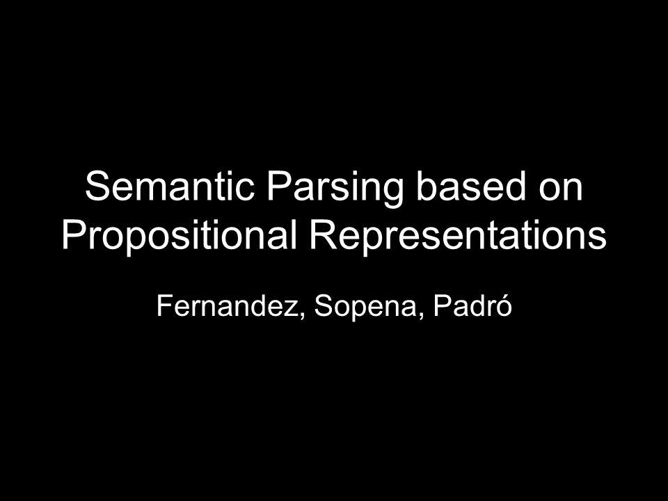 Resumen – Objetivos – Estructura Proposicional – Arquitectura M1 M2 –Ejemplos Canónico PP-Attachment Generalized Role Labeling using Propositional Representations