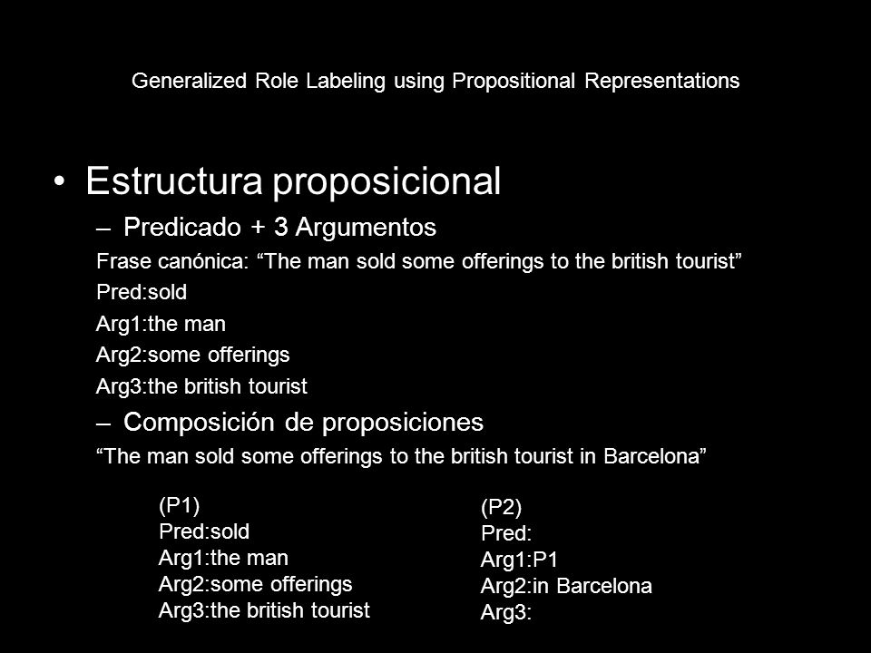 Generalized Role Labeling using Propositional Representations Input Word: cars | DT_N M1: PUT1 M2: The main manager bought some old cars with three wheels.