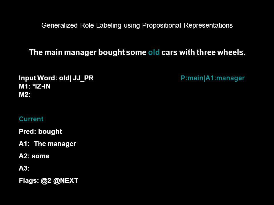 Generalized Role Labeling using Propositional Representations Input Word: old| JJ_PR M1: *IZ-IN M2: The main manager bought some old cars with three wheels.