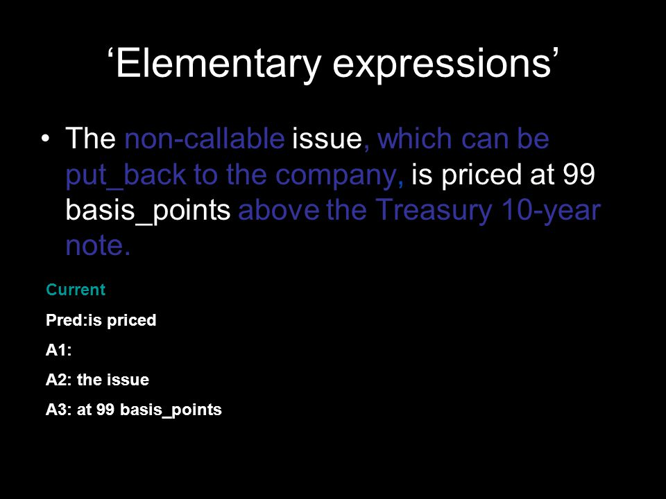 'Elementary expressions' The non-callable issue, which can be put_back to the company, is priced at 99 basis_points above the Treasury 10-year note.