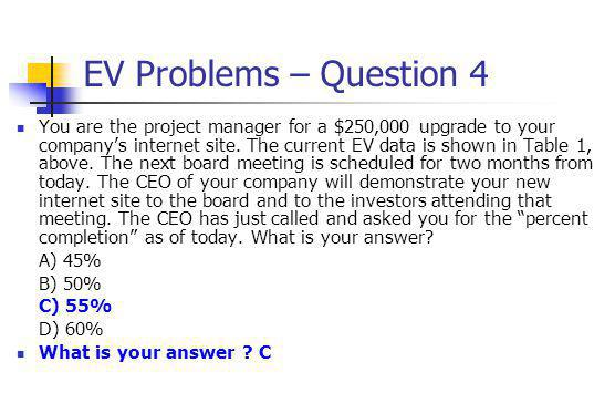 EV Problems – Question 4 You are the project manager for a $250,000 upgrade to your company's internet site. The current EV data is shown in Table 1,