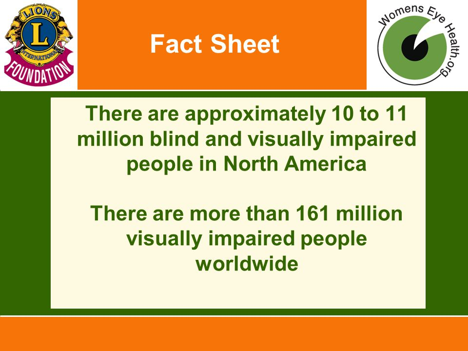 Fact Sheet There are approximately 10 to 11 million blind and visually impaired people in North America There are more than 161 million visually impaired people worldwide