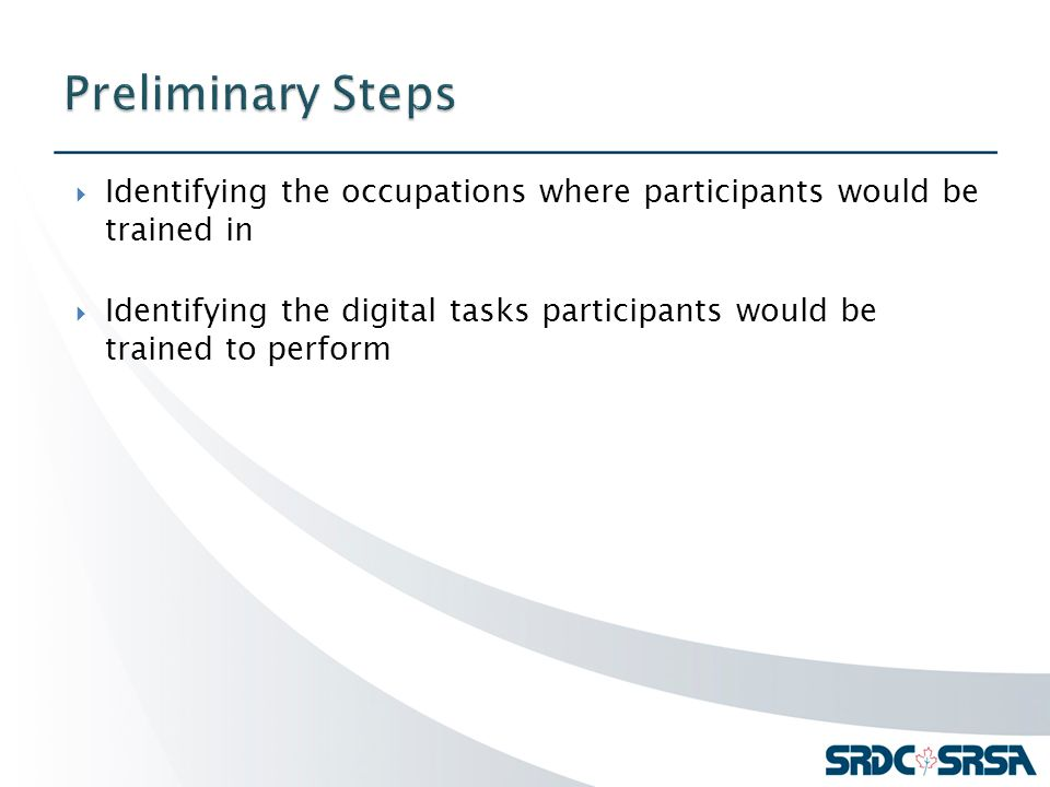  Identifying the occupations where participants would be trained in  Identifying the digital tasks participants would be trained to perform
