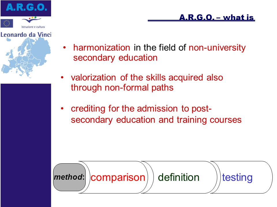 crediting for the admission to post- secondary education and training courses A.R.G.O.