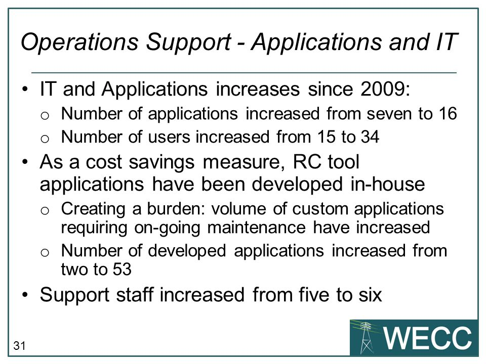 31 IT and Applications increases since 2009: o Number of applications increased from seven to 16 o Number of users increased from 15 to 34 As a cost s