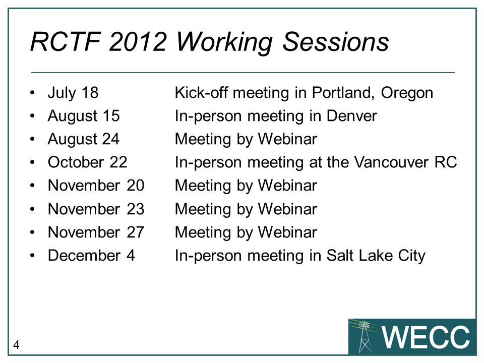 4 July 18 Kick-off meeting in Portland, Oregon August 15 In-person meeting in Denver August 24 Meeting by Webinar October 22 In-person meeting at the
