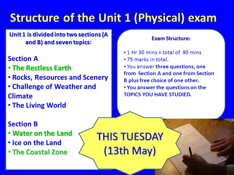 Structure of the Unit 1 (Physical) exam Unit 1 is divided into two sections (A and B) and seven topics: Section A The Restless Earth The Restless Earth Rocks, Resources and Scenery Challenge of Weather and Climate The Living World Section B Water on the Land Water on the Land Ice on the Land The Coastal Zone The Coastal Zone Exam Structure: 1 Hr 30 mins = total of 90 mins 75 marks in total.