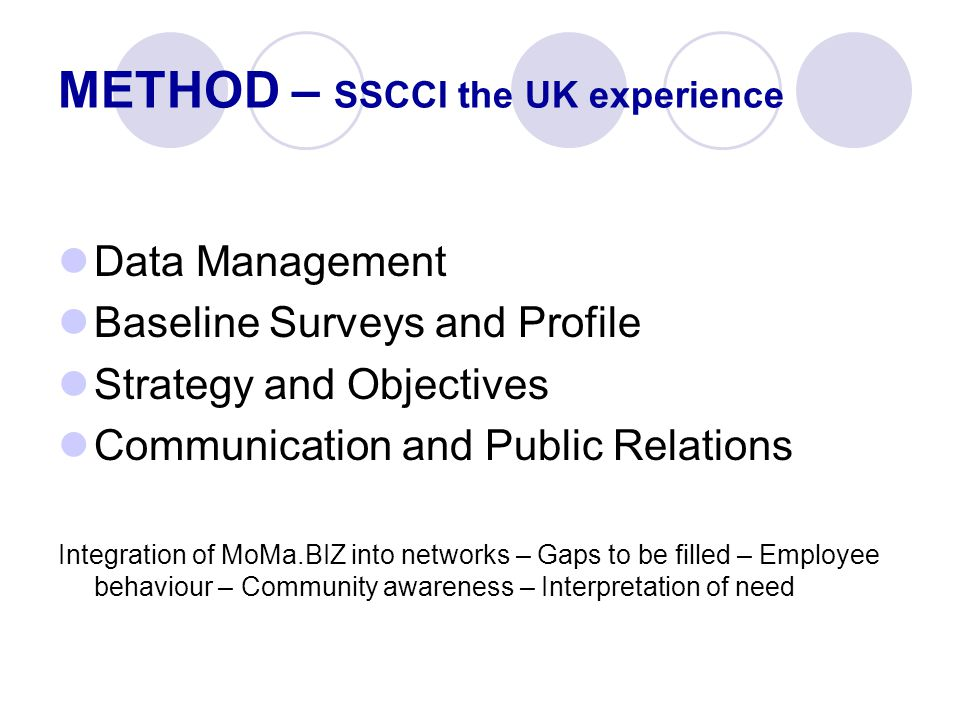 Data Management Baseline Surveys and Profile Strategy and Objectives Communication and Public Relations Integration of MoMa.BIZ into networks – Gaps to be filled – Employee behaviour – Community awareness – Interpretation of need METHOD – SSCCI the UK experience