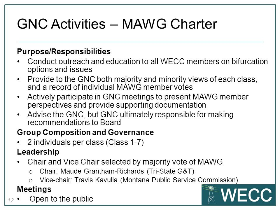 12 Purpose/Responsibilities Conduct outreach and education to all WECC members on bifurcation options and issues Provide to the GNC both majority and minority views of each class, and a record of individual MAWG member votes Actively participate in GNC meetings to present MAWG member perspectives and provide supporting documentation Advise the GNC, but GNC ultimately responsible for making recommendations to Board Group Composition and Governance 2 individuals per class (Class 1-7) Leadership Chair and Vice Chair selected by majority vote of MAWG o Chair: Maude Grantham-Richards (Tri-State G&T) o Vice-chair: Travis Kavulla (Montana Public Service Commission) Meetings Open to the public GNC Activities – MAWG Charter