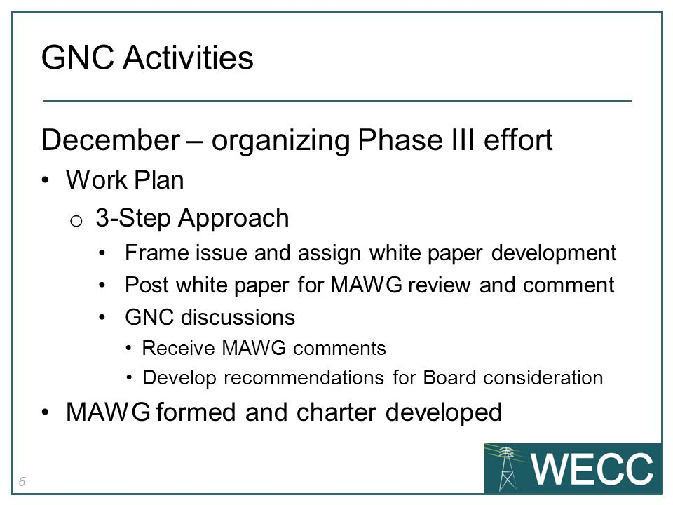 6 December – organizing Phase III effort Work Plan o 3-Step Approach Frame issue and assign white paper development Post white paper for MAWG review and comment GNC discussions Receive MAWG comments Develop recommendations for Board consideration MAWG formed and charter developed GNC Activities