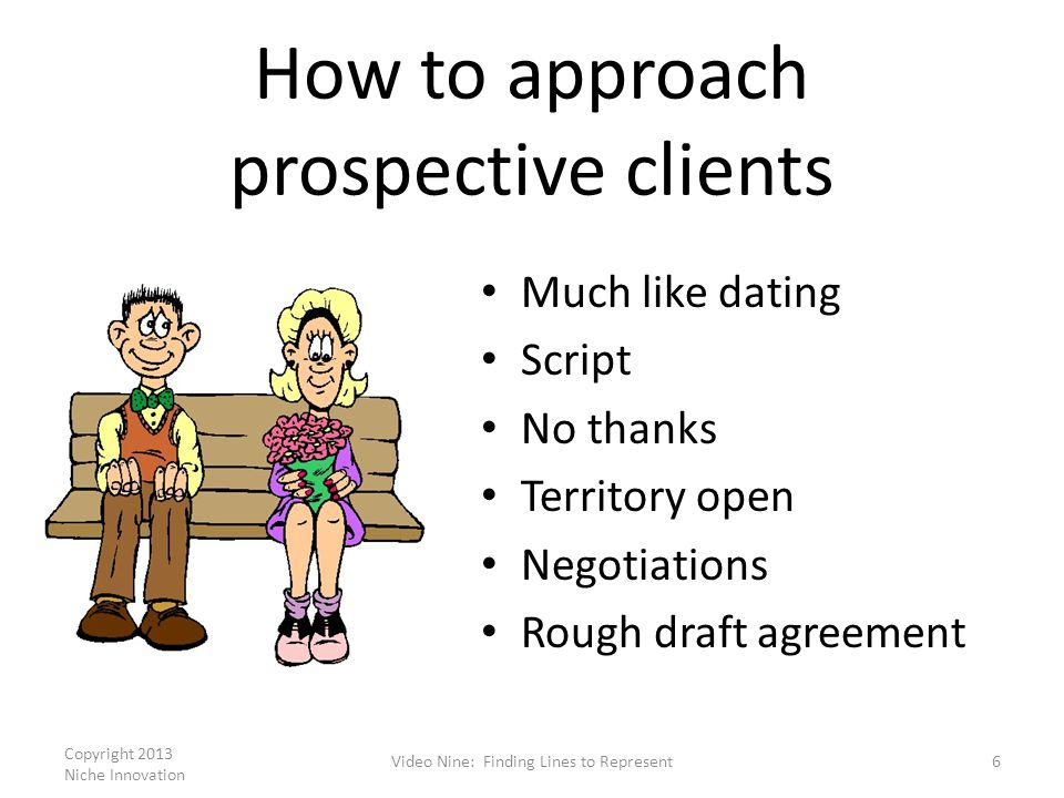 How to approach prospective clients Much like dating Script No thanks Territory open Negotiations Rough draft agreement Copyright 2013 Niche Innovatio