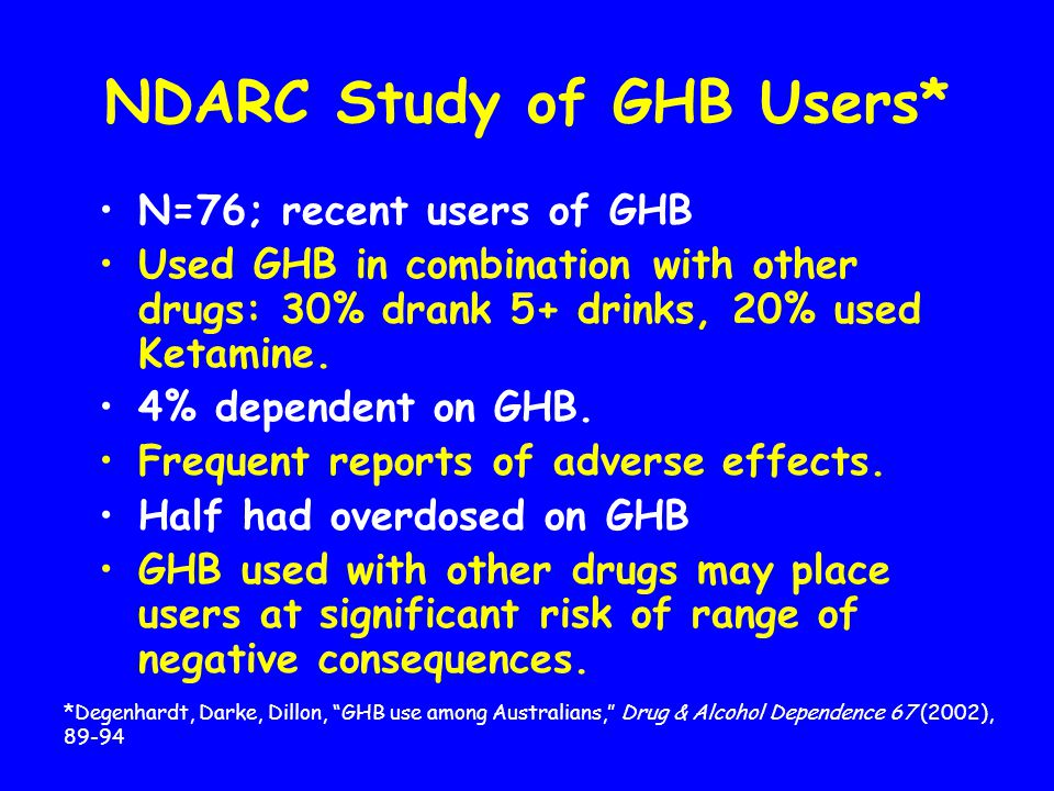 GHB Adverse Effects Central Nervous System depressant-- intoxication, then deep sedation.