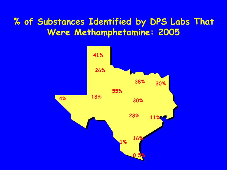 20% 17% 12% 0% 24% 1% 7% 35% 4% 10% 18% 42% % of Substances Identified by DPS Labs That Were Methamphetamine & Amphetamine: 2001